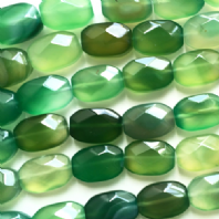 16 Inch Natural Green Agate 18x13mm Facet Oval Beads